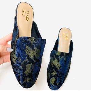 Mix No. 6 Alexcina Blue Shimmer Brocade Mules